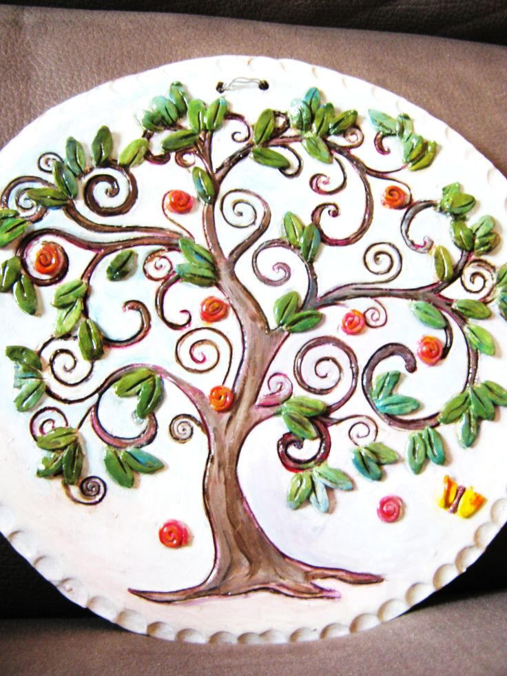 l'albero della vita: piatto in terracotta smaltata