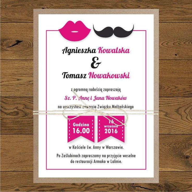 Zaproszenia ślubne - usta i wąsy
