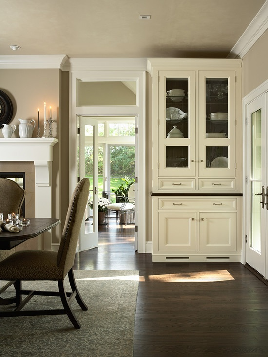 Dining room built ins with glass doors drawers dining for Dining room built ins