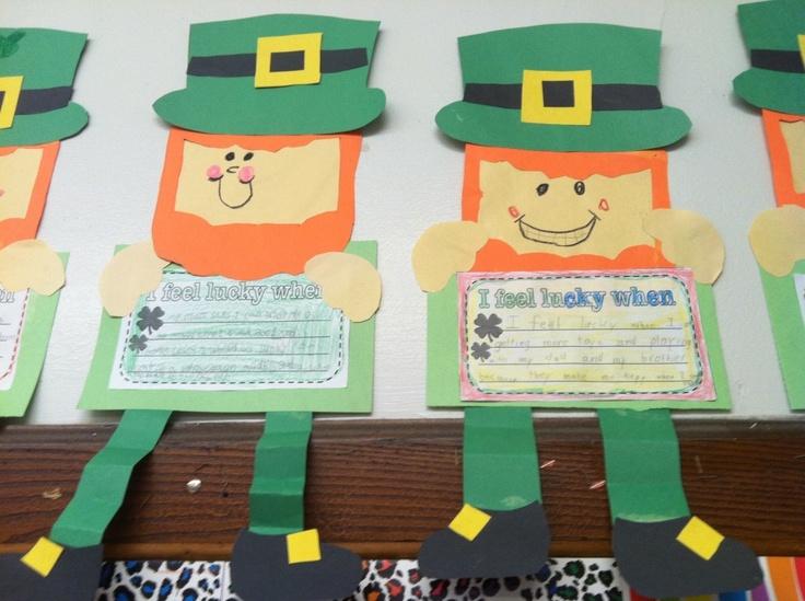 """Leprechaun writing """"I feel lucky when"""""""