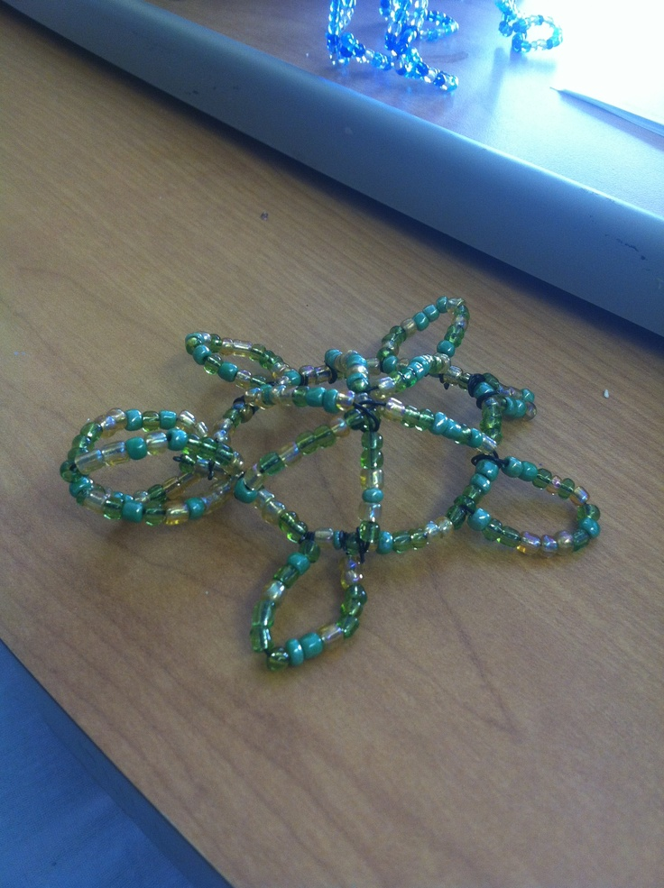 A handmade beaded turtle made from wire and sea beads for Very simple wire craft projects