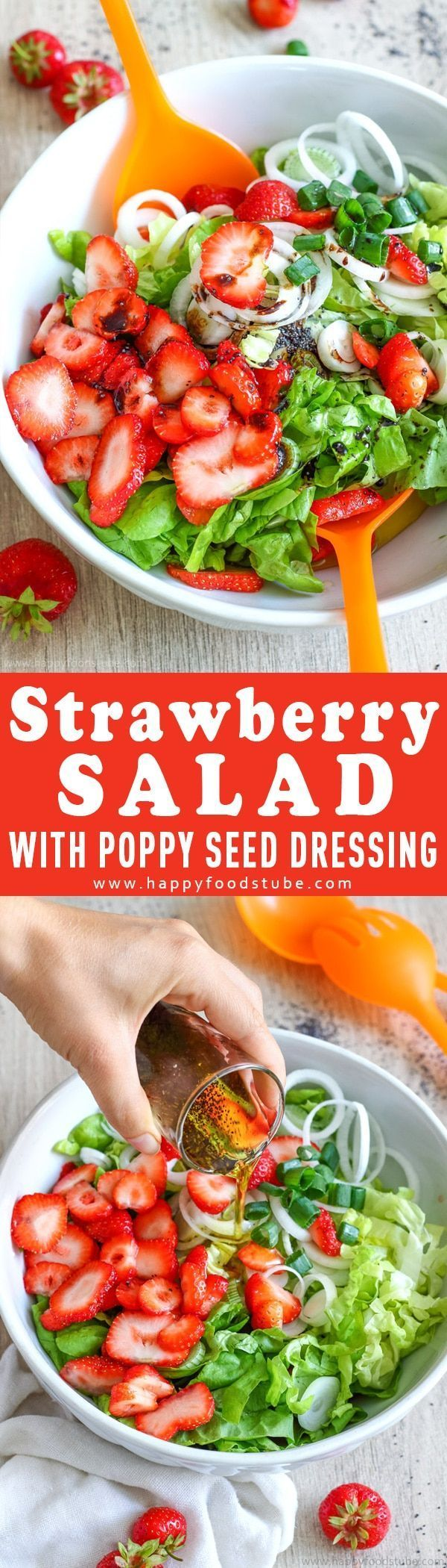 This Strawberry salad with poppy seed dressing is the perfect barbecue side dish. Combine strawberries, lettuce & spring onions with tasty 3-ingredient sweet dressing. Simple ingredients and ready in 15-minutes. via @happyfoodstube