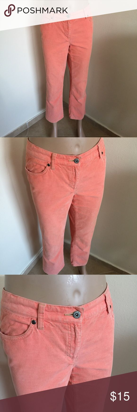 """J.Crew Tangerine Ankle Crop Corduroy Jeans 10 L26 Label-J. Crew Women's Jeans Style- """"Low Fit"""" Ankle Crop, straight leg,medium wale Corduroy Jeans. These are cut like a boyfriend lowride crop.  Size-10 Shown on a 4 Mannequin and way to big so pics don't look very good. But really nice pants.  Measurements-W-35, Hip-44 Inseam-26 Rise-9.5 Leg Opening-8 Color-Light Pastel Tangerine Orange Fabric-100% Cotton Condition-Gently Worn, no issues Origin-China J. Crew Jeans Ankle & Cropped"""