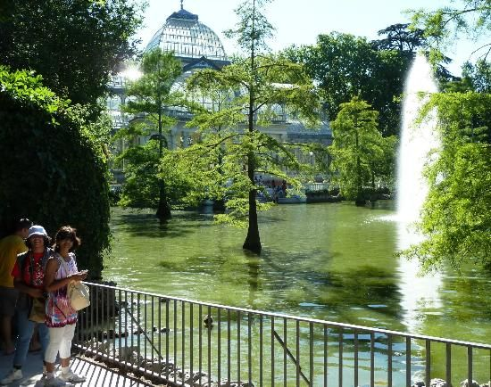 The Crystal Palace with Fountain in Retiro Park