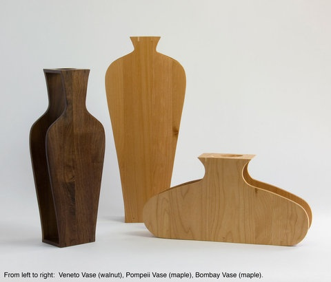 silhouette wood vases