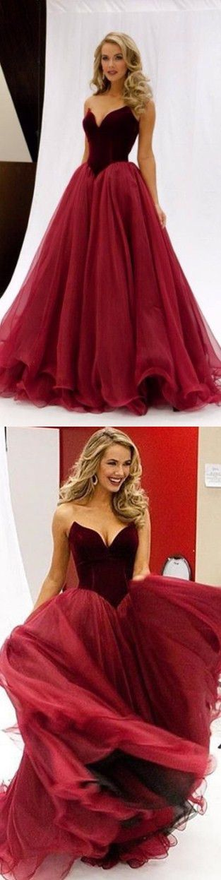 Long Red Prom Dresses, Mermaid Organza Prom Dress, Sexy Prom Dress, 2017 Prom Dress, Dresses For Prom, Fashion Prom Dress, 2017 prom dresses - Ok Bridal Store Dresses