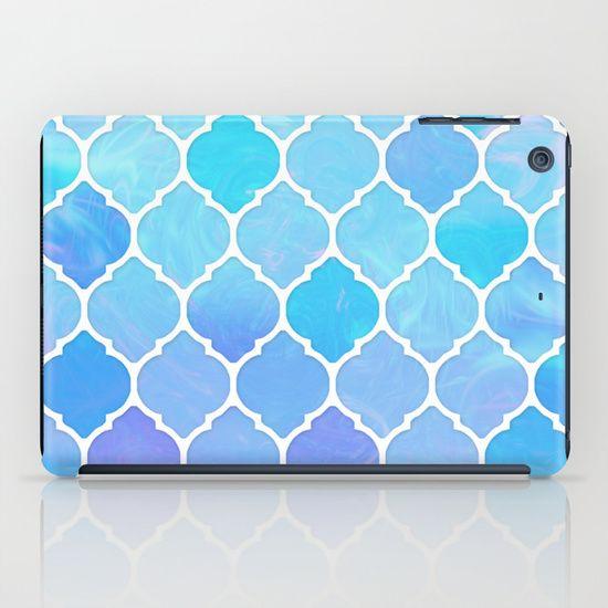Blue and purple glass Moroccan print iPad Case