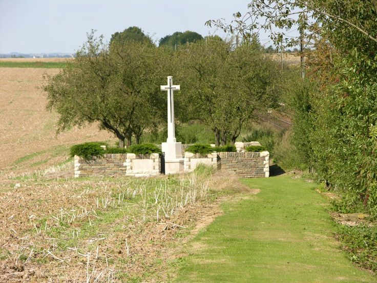 The village of Courcelles-le-Comte was taken by the 3rd Division on 21 August 1918 and Railway Cutting Cemetery was made after the capture. Buried here are men of the 2nd, 3rd, 37th and 63rd Divisions who died in the area in August 1918. RAILWAY CUTTING CEMETERY contains 108 WWI burials and commemorations. 16 of the burials are unidentified but a special memorial commemorates one casualty believed to be buried among them.