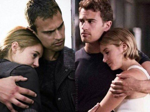 Divergent to Allegiant It's cool that in the first picture, tris' eyes are open. More alert. Almost like she doesn't completely trust four yet. Then in the second picture her eyes are closed...