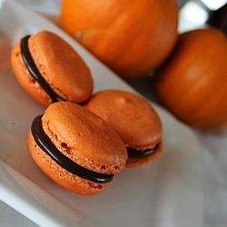 Orange Halloween Macarons with Dark Chocolate Ganache. {recipe}