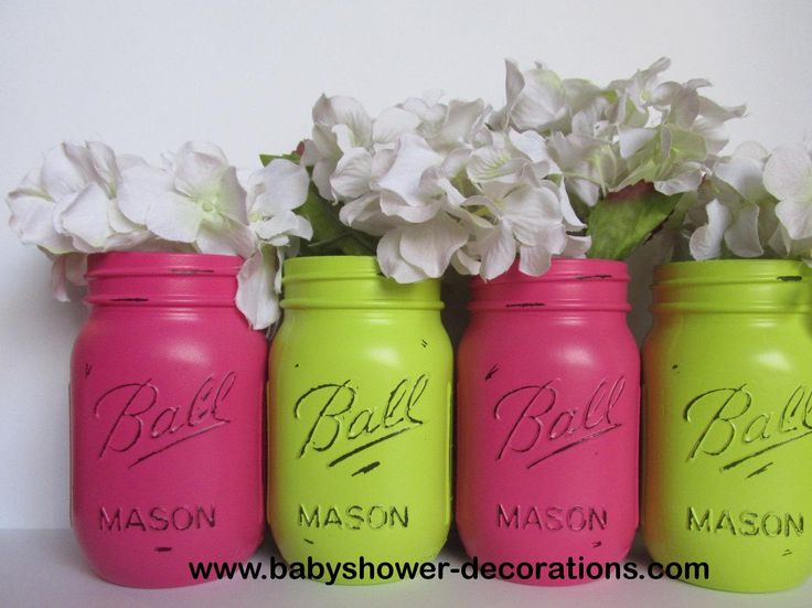 Painted and Distressed Ball Mason Jars- Lime Green and Hot Pink-Set of 4-Flower Vases, Rustic Wedding, Centerpieces - http://www.babyshower-decorations.com/painted-and-distressed-ball-mason-jars-lime-green-and-hot-pink-set-of-4-flower-vases-rustic-wedding-centerpieces.html