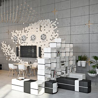 """German manufacturer Movisi (pronounced """"move easy"""") has created a lightweight and modular furniture system called Grow. The system is based around a single component that the user can attach to others via tool-free connectors; they can then build them out, like Legos, into seating, storage or room-dividing units. The"""