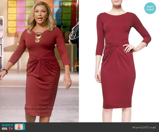 Maxine's red knotted front dress on Daytime Divas.  Outfit Details: https://wornontv.net/75092/ #DaytimeDivas