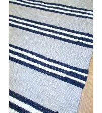 Pamut rongyszőnyeg szürke, kék, fehér 80 x 180 cm