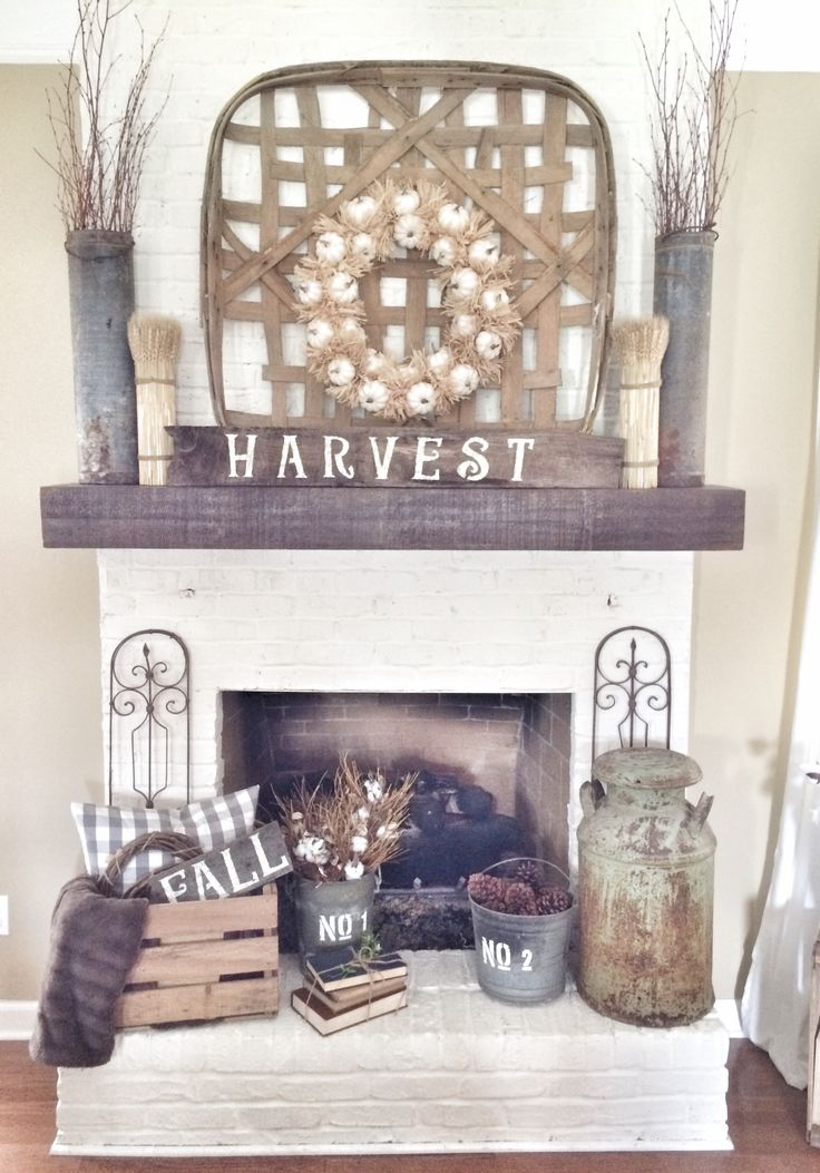 Rustic fall fireplace in neutrals.  #falldecor homechanneltv.com