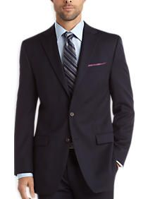 navy suit, blue shirt, gray/black stripe tie