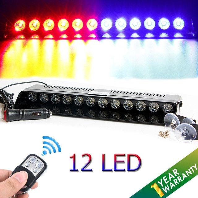12 LED STROBE WARNING LIGHT FLASH CAR ROOF WINDSHIELD EMERGENCY BEACON LAMP