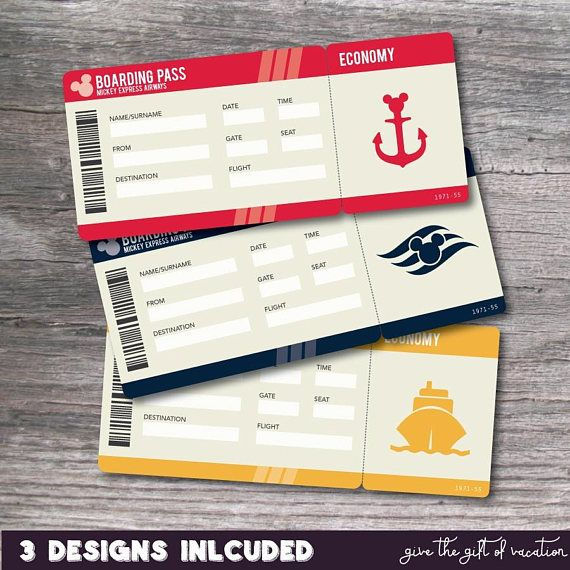 Let someone unwrap the magic of a Disney Vacation with these Printable PDF Tickets for the Disney Cruiseline. Simply complete the purchase and you will INSTANTLY have access to print your own Disney Cruiseline Tickets. The boxes are left blank for you to handwrite in the