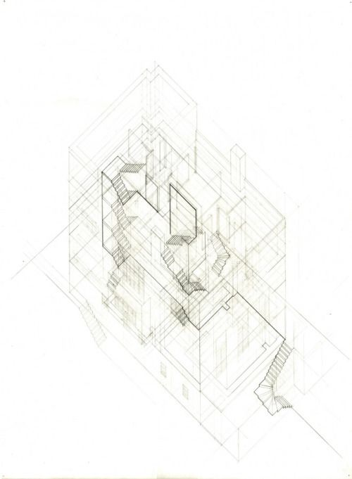 Lauren Roberson's plan oblique drawing of the Muller House via
