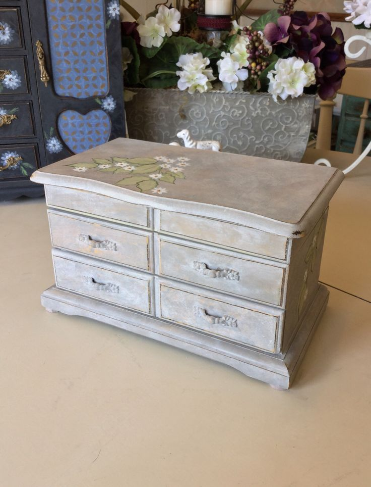 Vintage Musical Jewelry Box / Upcycled Shabby Chic Jewelry Box / Painted Wooden Jewelry Chest by ByeByBirdieDesigns on Etsy https://www.etsy.com/listing/513321571/vintage-musical-jewelry-box-upcycled