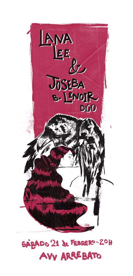 Artwork for gig poster: Lana Lee & Joseba B. Lenoir Duo. By Niko Bleach.