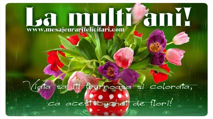 Felicitari de la multi ani - La Multi Ani! Viata sa iti frumoasa si colorata, ca acest buchet de flori! - mesajeurarifelicitari.com