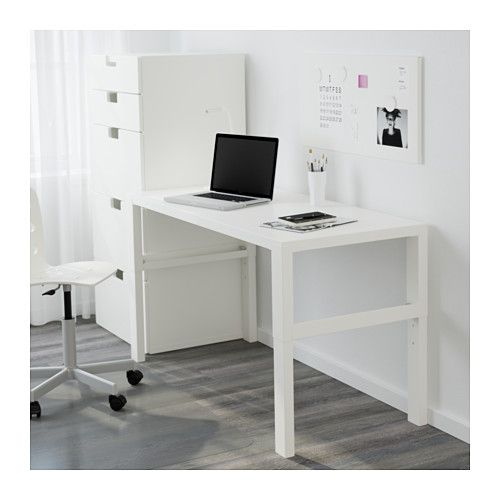 """IKEA - PÅHL, Desk, white, , This desk is designed to grow with your child, thanks to the three different heights.The desk is easily adjusted to 23¼"""", 25⅞"""" or 28⅜"""" by using the knobs on the legs.You can keep cables and extension cords organized by placing them in the cable holders between the front and back legs."""