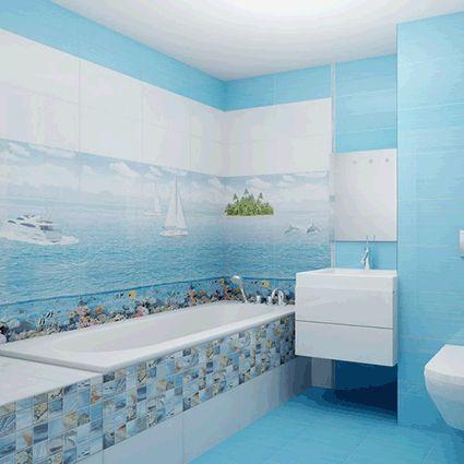 керамическая плитка  для ванной комнаты с рисунком море - Ceradim Reef