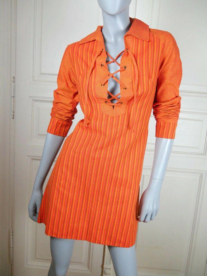 1970s Mini Dress, European Orange Striped Heavy Cotton Short Dress, Sexy Hippie Dress, Festival Dress: Size 10 US, Size 14 UK by YouLookAmazing on Etsy