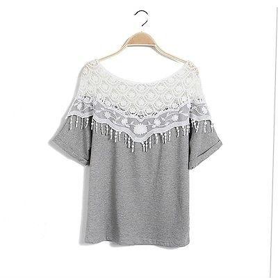 Hollow Out Lace Cutout Women Crochet Cape Collar Batwing Sleeve Tops T-shirt GU