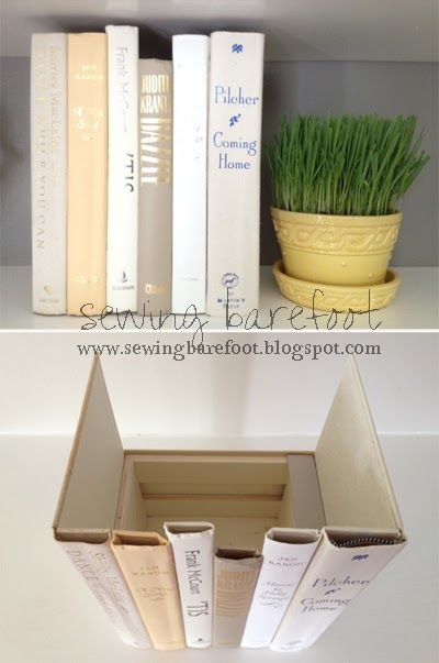 """Sewing Barefoot: """"hidden storage"""" books... great tutorial to hide your router or cable box. Genius!"""