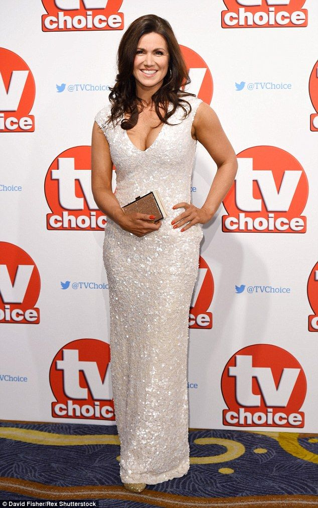 Gorgeous: Susanna Reid flaunted major cleavage in a plunging dress at the TV Choice Awards at the Hilton Park Lane in London on Monday night