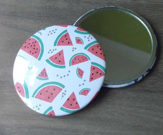 Watermelon Illustration Large Pocket Mirror by SarahPriceDesigns #watermelon #mirror