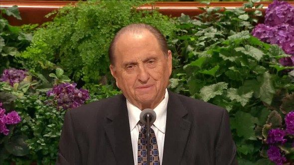 Why no one stood by President Monson during his talk. Spoilers- someone did. President Uchtdorf was just off camera a little behind him.