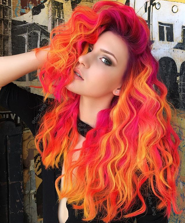 WEBSTA @ guy_tang - Dark Phoenix using neons of Fuschia, Orange, Yellow by Kenra @hairbesties_ @kenraprofessional @angelicasalek #neon makeup by @arianasin #neonbattle