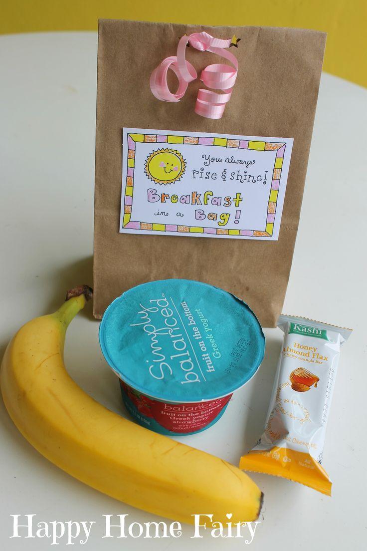 teacher appreciation free printable - breakfast in a bag