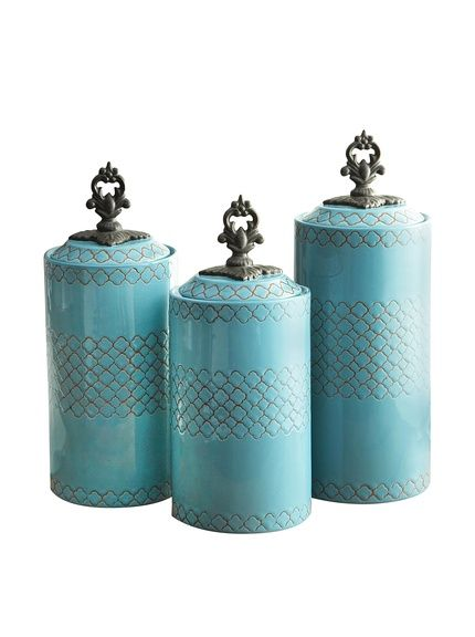 American Atelier 3-Piece Blue Canister Set at MYHABIT
