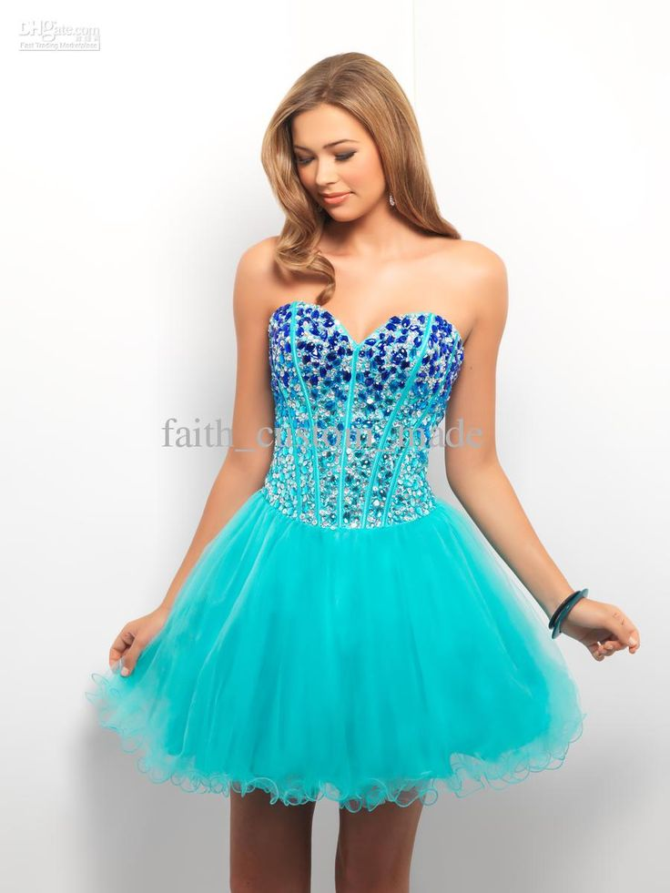 Bahama Blue A Line Homecoming Party Dresses 2015