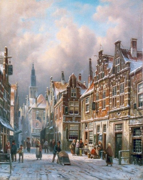 Johannes Franciscus Spohler (Rotterdam 1853-1894 Amsterdam) Delft in winter - Dutch Art Gallery Simonis and Buunk Ede, Netherlands.