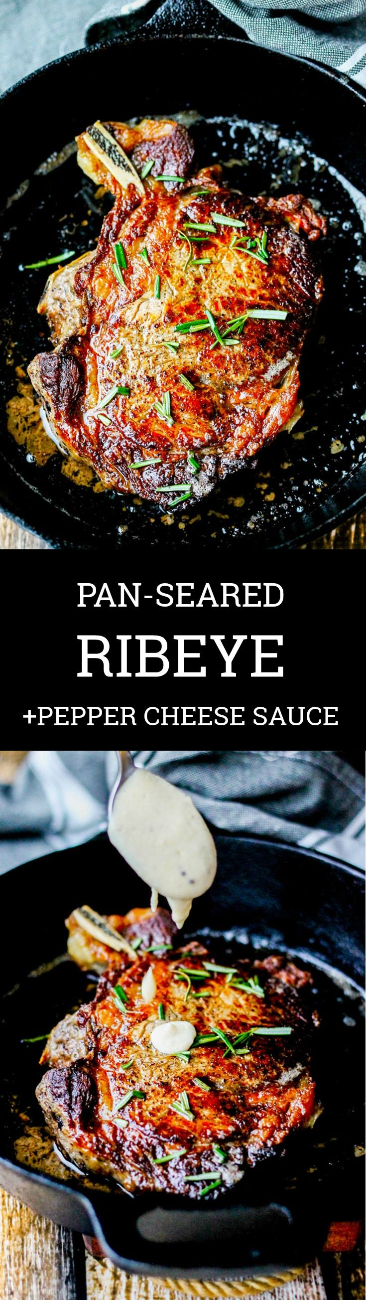 Pan-Seared Ribeye with Cracked Pepper & Mahon-Menorca Cheese Sauce is a super easy and quick idea for  Christmas dinner or any Holiday dinner. It just takes 15 minutes, from start to finish. You can't beat that! #Ad #MahonCheese #Steak  #Christmasdinner