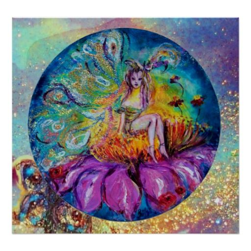 FAIRY IN THE NIGHT POSTERS ,Vibrant ,whimsical, colorful flower faery,.Surreal ,colorful and fantastic mixed media painting in gold sparkles,turquoise, aqua blue,pink ,purple yellow orange colors with golden and silver foil.
