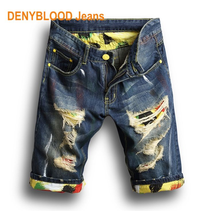 17.48$  Watch now - http://alidhr.shopchina.info/go.php?t=32806147719 - 2017 Summer Mens Distressed Jeans Ripped Denim Shorts Vintage Darked Wash Hole Print Patchwork Capris Short Pants Mermuda 121  #buymethat