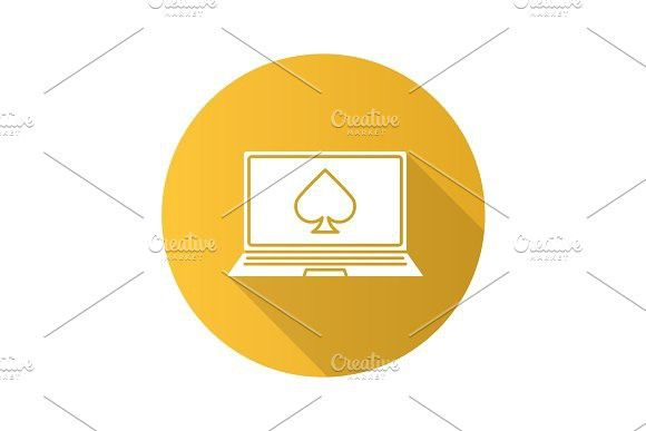 Online casino flat design long shadow glyph icon. Leisure