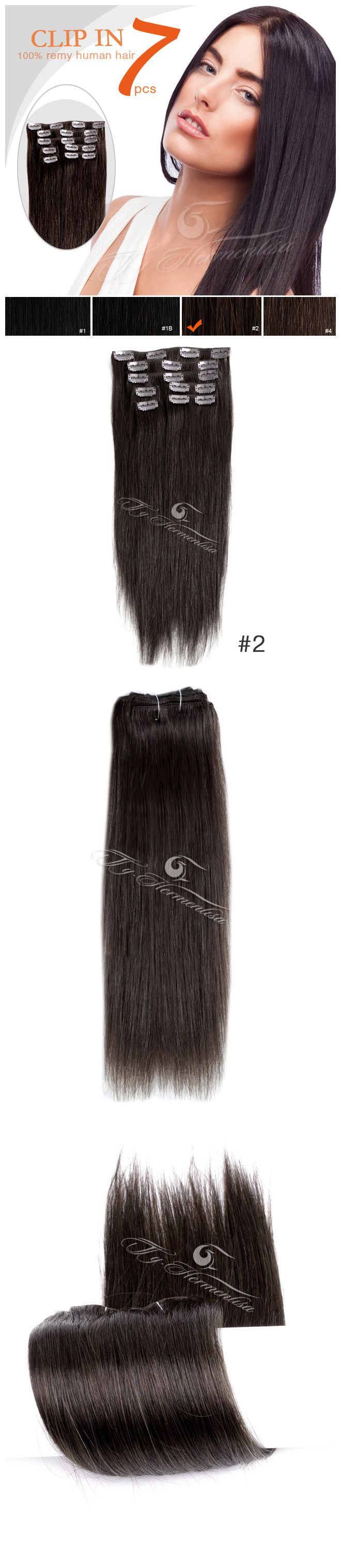 18 Inches 7 Pieces Clip In Remy Human Hair Extensions-Darkest Brown(#2)