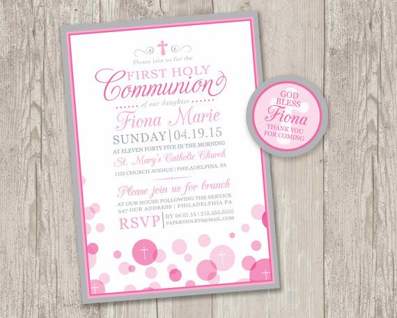 ► DIY printable communion invitations with FREE matching thank you tags! Can be used for other religious events!    { First Holy Communion