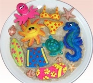 Sunny Days Cookies    ADORABLE sugar cookies.  Perfect for a pool party, birthday party or day at the beach!  Sun, turtle, sandal flip flop, bikini, octopus, seahorse and sea shells.  Let us know what you think!  Join us on Facebook.  www.facebook.com/...   Or Join our blog: yummyarts.com/blog
