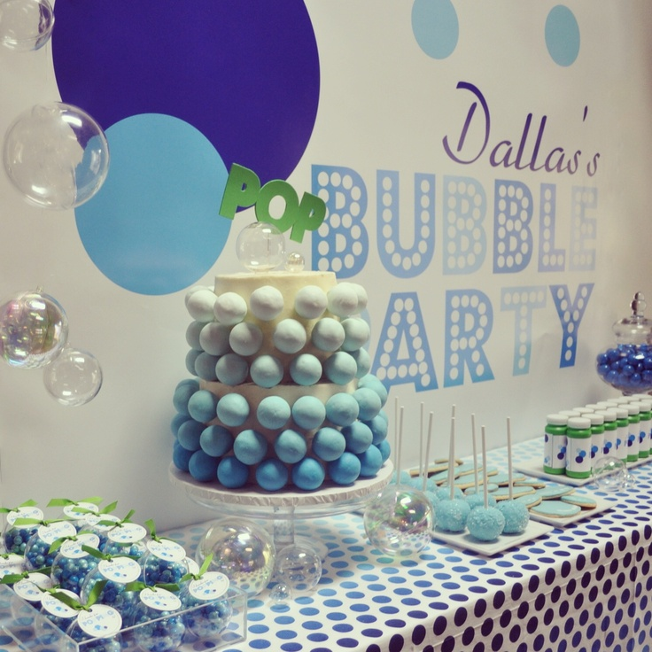 Bubbles party ... Bubble birthday party .... Dessert table
