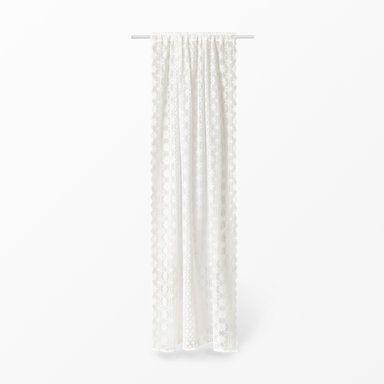 Gardin Spets med kanalband, 110x240 cm, vit