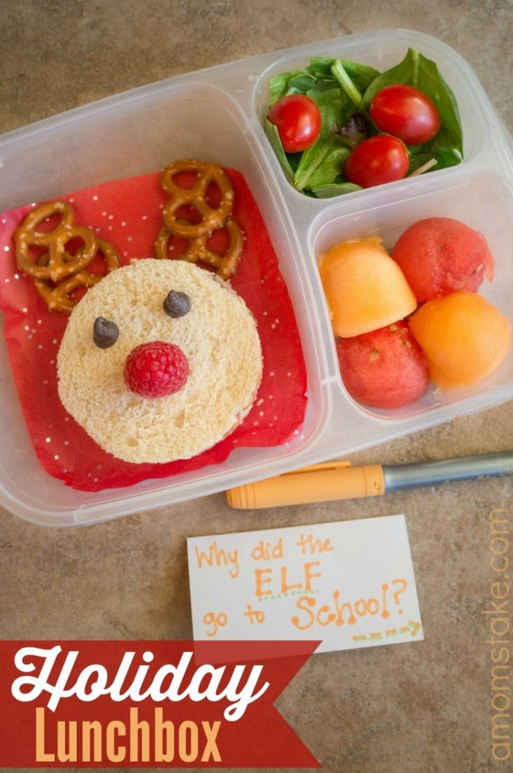 Easy and cute holiday bento lunchbox for kids featuring Rudolph the Red-nosed Reindeer!  Plus, holiday lunch box jokes! #BICMerryMarking #SummerMelon #ad