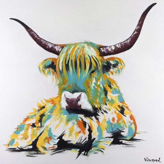Highland Cow Painting | Art by Aidan Weichard | Original Painting on Canvas | Abstract Animal Art |  'Hector' 91 x 91cm | Modern Wall Art